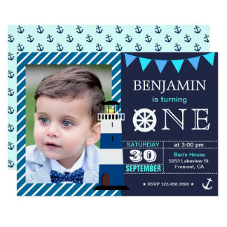 Nautical Baby Boy 1st Birthday Party Invitation