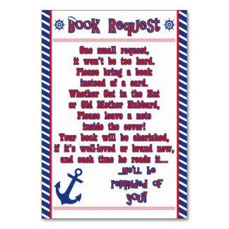 Nautical Baby Boy Baby Shower Book Request Card