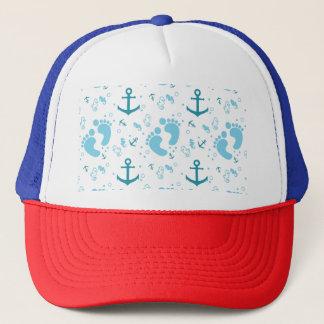 Nautical baby boy blue pattern trucker hat