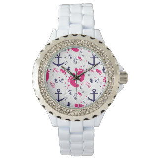 Nautical baby girl pink, navy blue wristwatches