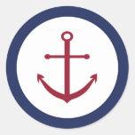 Nautical Baby Shower Anchor Envelope Seal Round Sticker