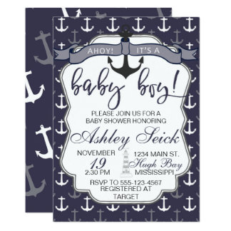 Nautical Baby Shower Boy Ahoy Its a Boy Invite