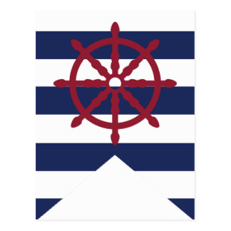 Nautical Baby Shower Captain's Wheel Bunting Flag Postcard