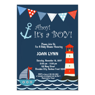 Nautical Baby Shower Invitation, Ahoy It's A Boy! Card