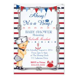 Nautical Baby Shower Invitation, Baby Shower Card