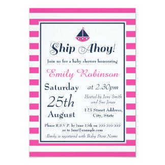 Nautical Baby Shower Invitation Girl, Ship Ahoy!