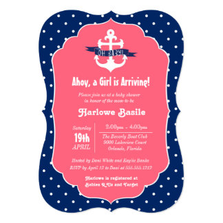 Nautical Baby Shower Invitation, Pink Blue Girl Card