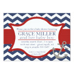 """Nautical Baby Shower Invite. Navy blue and red. 5"""" X 7"""" Invitation Card"""