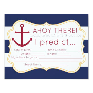 Nautical Baby Shower Predictions & Advice Card
