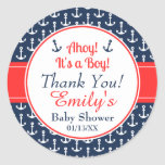 Nautical Baby Shower Stickers - Boy