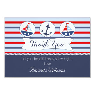 Nautical Baby Shower Thank You Card 9 Cm X 13 Cm Invitation Card