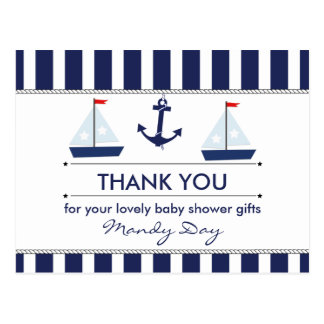 Nautical Baby Shower Thank You Postcard