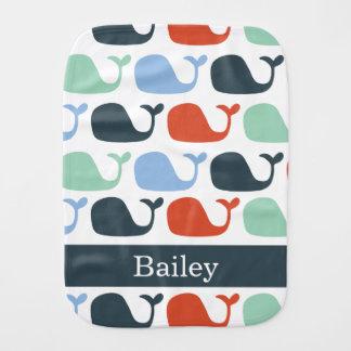 Nautical Baby Whale Burp Cloth