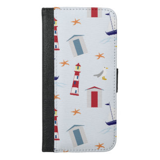 Nautical Background, Lighthouses - Blue Red White iPhone 6/6s Plus Wallet Case