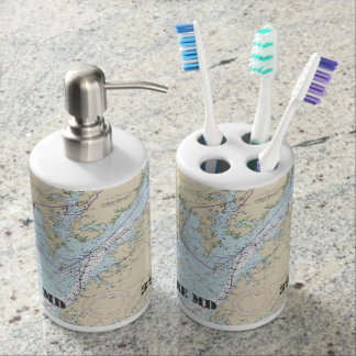 Nautical Baltimore Latitude & Longitude Bath Set