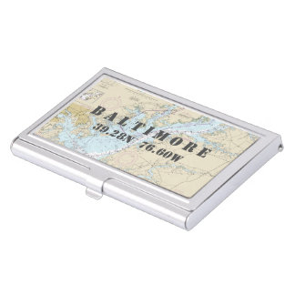 Nautical Baltimore Maryland Latitude Longitude Business Card Holders