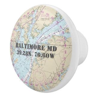 Nautical Baltimore Maryland Latitude Longitude Ceramic Knob