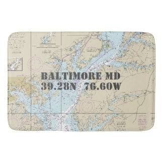 Nautical Baltimore MD Longitude Latitude Chart Bath Mats