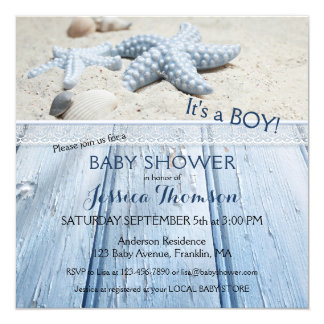 Nautical Beach Baby Boy Shower Invitation