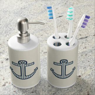 Nautical Beach Blue Anchor Bathroom Decor Set