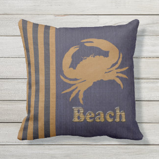 Nautical Beach, Blue & Tan Stripes with a Crab Outdoor Cushion