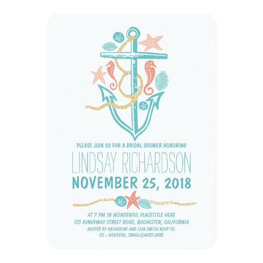 Nautical beach bridal shower invitations