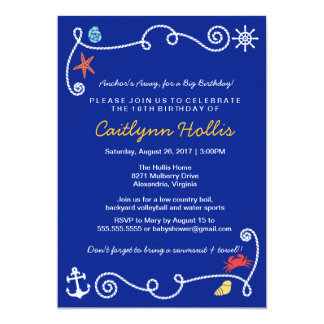 Nautical Beach (choose color) Birthday BBQ Card