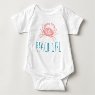 "Nautical ""Beach Girl"" with Crab Baby Bodysuit"