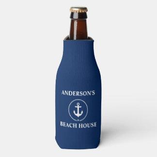 Nautical Beach House Family Name Anchor Blue Bottle Cooler