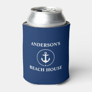 Nautical Beach House Family Name Anchor Blue Can Cooler