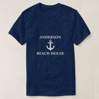 Nautical Beach House Family Name Anchor Blue T-Shirt