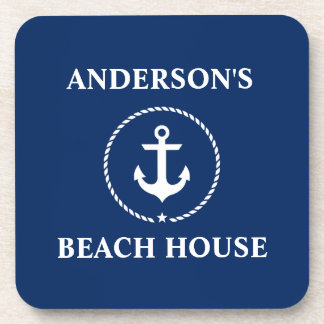 Nautical Beach House Family Name Anchor Navy Blue Coaster