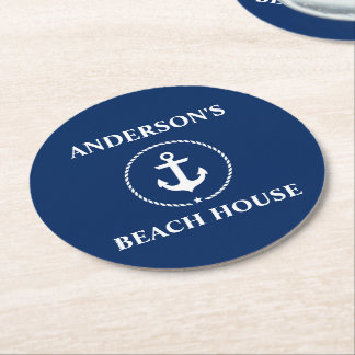 Nautical Beach House Family Name Anchor Navy Blue Round Paper Coaster