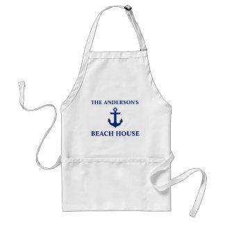 Nautical Beach House Family Name Anchor Standard Apron
