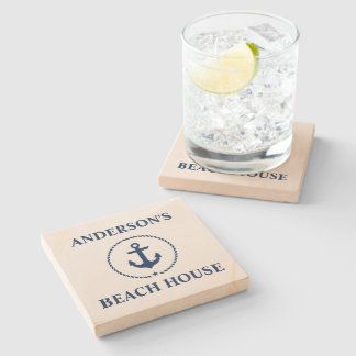 Nautical Beach House Family Name Blue Anchor Stone Coaster