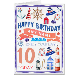 Nautical Beach Personalised Birthday Card