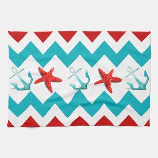 Nautical Beach Red Teal Chevron Anchors Starfish Tea Towel