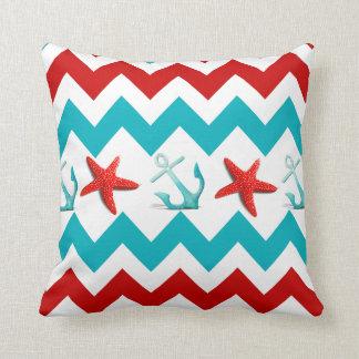 Nautical Beach Red Teal Chevron Anchors Starfish Throw Pillow