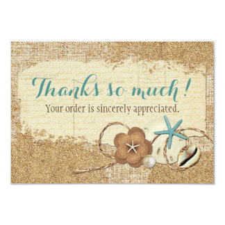 Nautical Beach Seashell & Sand Boutique Thank You Card