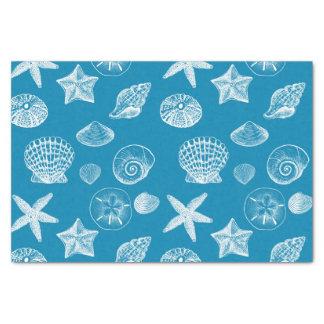 Nautical Beach Shells Aqua White Tissue Paper