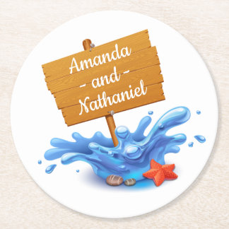 Nautical Beach Sign Waves Blue  Wedding Party Round Paper Coaster