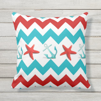 Nautical Beach Summer Chevron Outdoor Throw Pillow