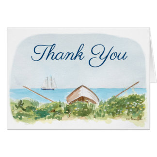 Nautical Beach Thank You Notes with Sail Boat