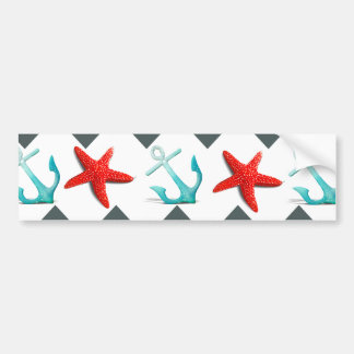 Nautical Beach Theme Chevron Anchors Starfish Bumper Sticker