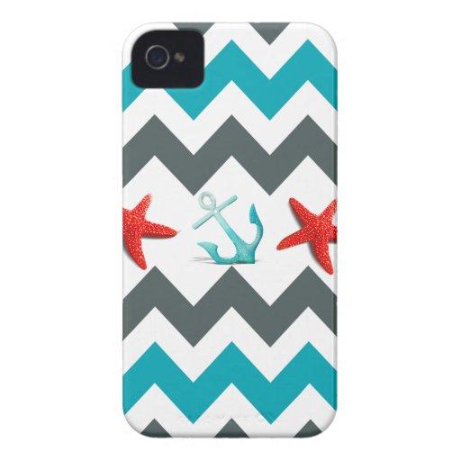 Nautical Beach Theme Chevron Anchors Starfish iPhone 4 Case-Mate Case