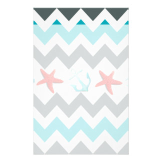 Nautical Beach Theme Chevron Anchors Starfish Personalised Stationery