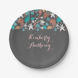 Nautical Beach Treasures Cute Underwater Scene Paper Plate