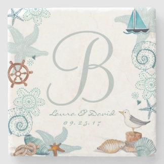 Nautical Beach Wedding | Custom Marble Coaster Stone Beverage Coaster