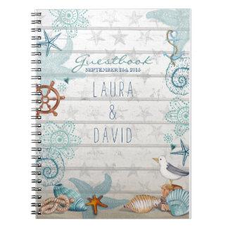 Nautical Beach Wedding Guestbook Notebook