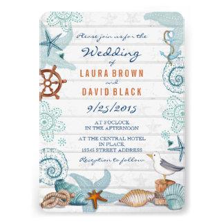 Nautical Beach Wedding Invitation Invite
